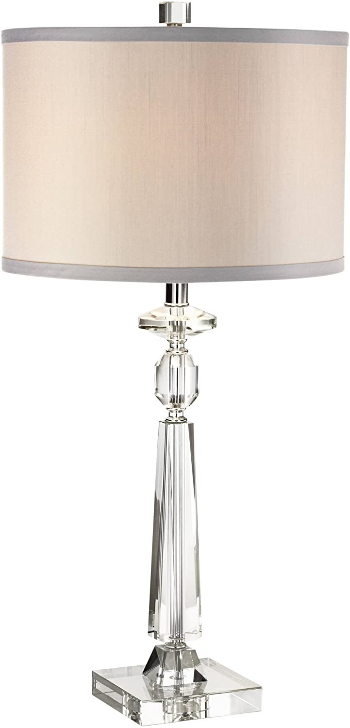Aline Modern Contemporary Luxury Style Table Lamp Clear Crystal Column Gray Fabric Drum Shade Decor For Living Room Bedroom House Bedside Nightstand Home Office Reading Family Vienna Full Spectrum