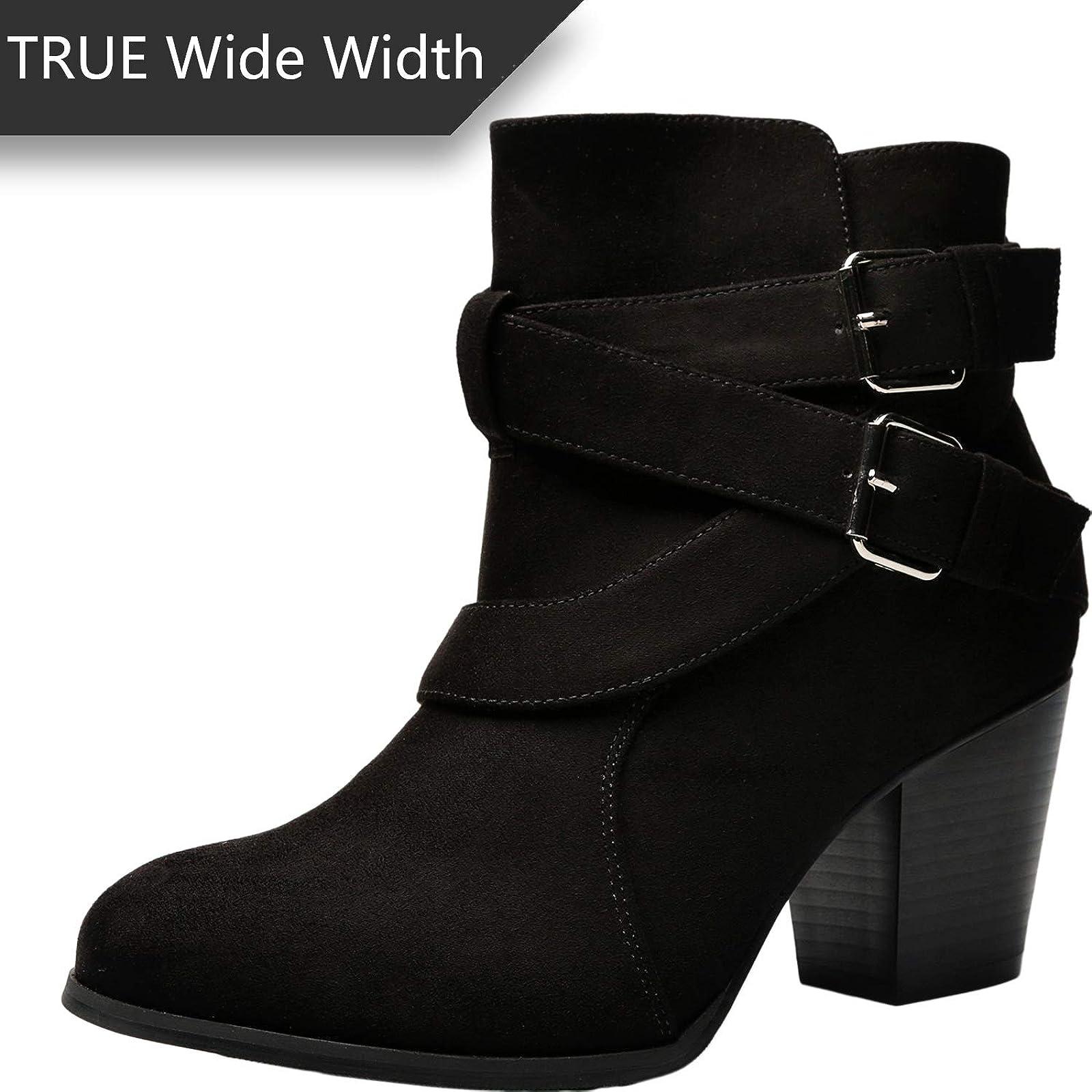 Luoika Women's Wide Width Ankle Boots - Black 10 XW US - 7