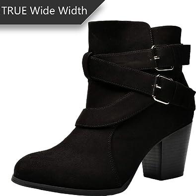 Luoika Women s Wide Width Ankle Boots - Buckle Strap Block Heel Side Zipper  Plus Size Booties 36b8a97f639