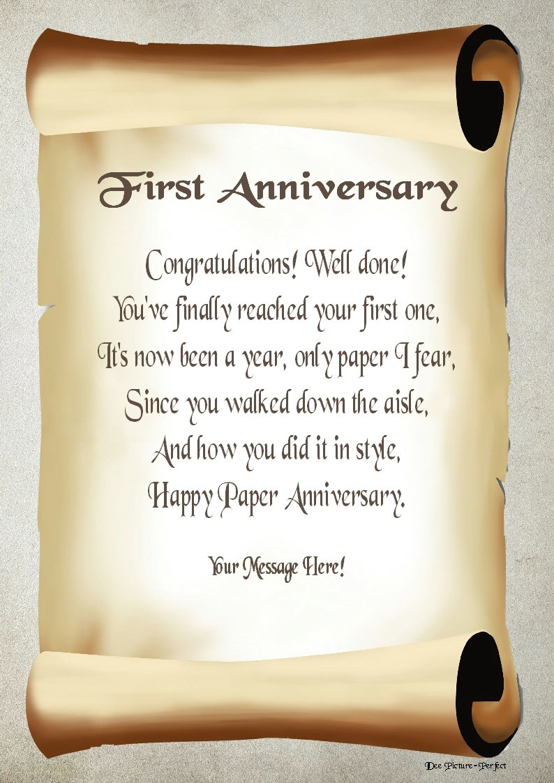 1st Anniversary Personalised Poem Gift Print: Amazon.co.uk ...