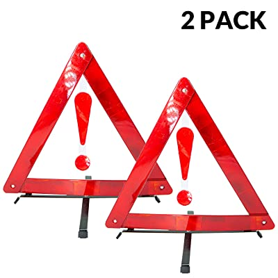 Kowenz Car Emergency Kit, Reflector Warning Triangle Emergency DOT Approved/Road Safety Triangles - (2 Pack) kit with fold-able Exclamation Mark: Automotive [5Bkhe0100021]