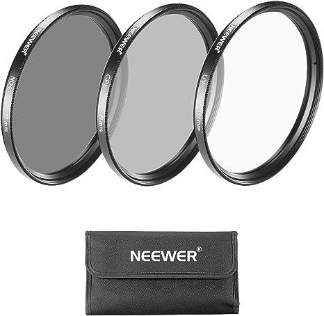 Neewer 10088028 Kit Filtro de Lente 77 mm con Filtro UV, Filtro CPL, Filtro ND4, Bolsa