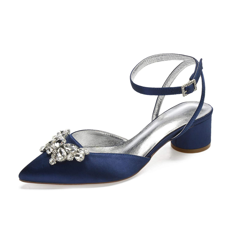 Zxstz Chaussures pour Femmes Satin Printemps Mariage Eté Confort Mariage Printemps Chaussures à Bout Pointu Bow Strass Escarpins Chaussures Habillées 36|Dark blue cb5260