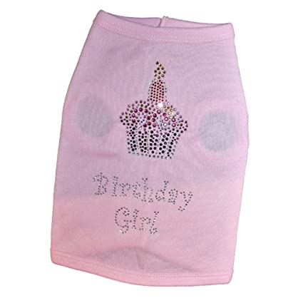 Pet Clothes Rhinestone Cupcake Happy Birthday Puppy Dog Shirts For Small Medium Large Dogs
