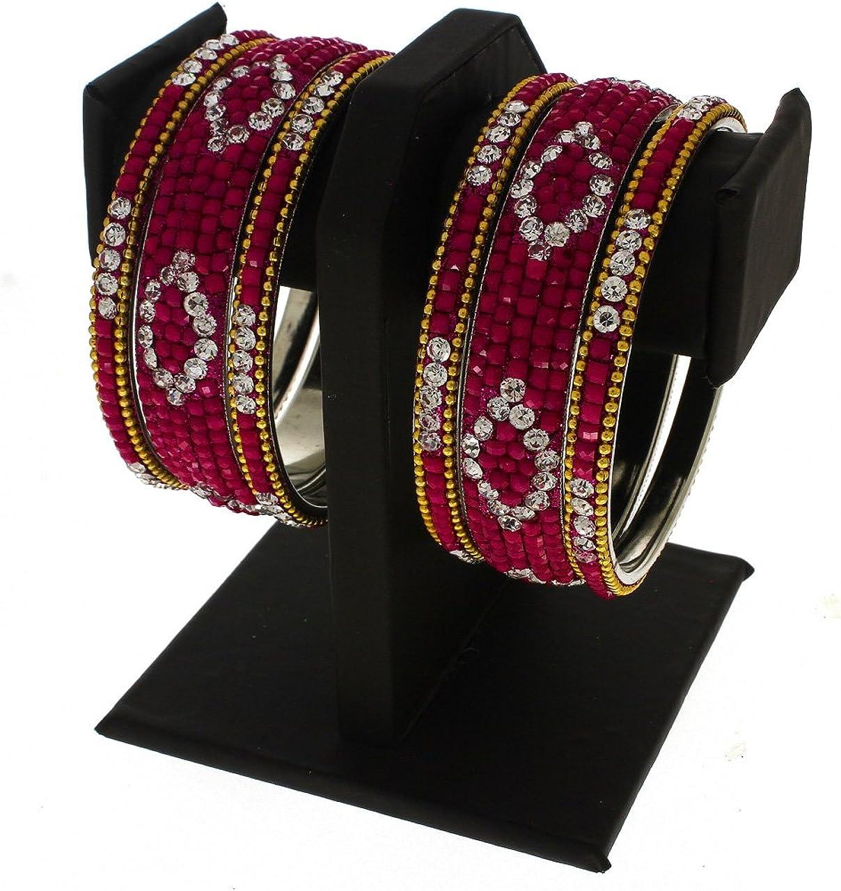 Anuradha Art Red Finish Studded Shimmering Stone Classy Ethnic Bangles Set for Women//Girls