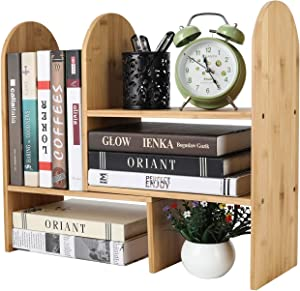 TQVAI Natural Bamboo Desktop Bookshelf Expandable Bookcase Office Supplies Storage Rack Organizer, Original