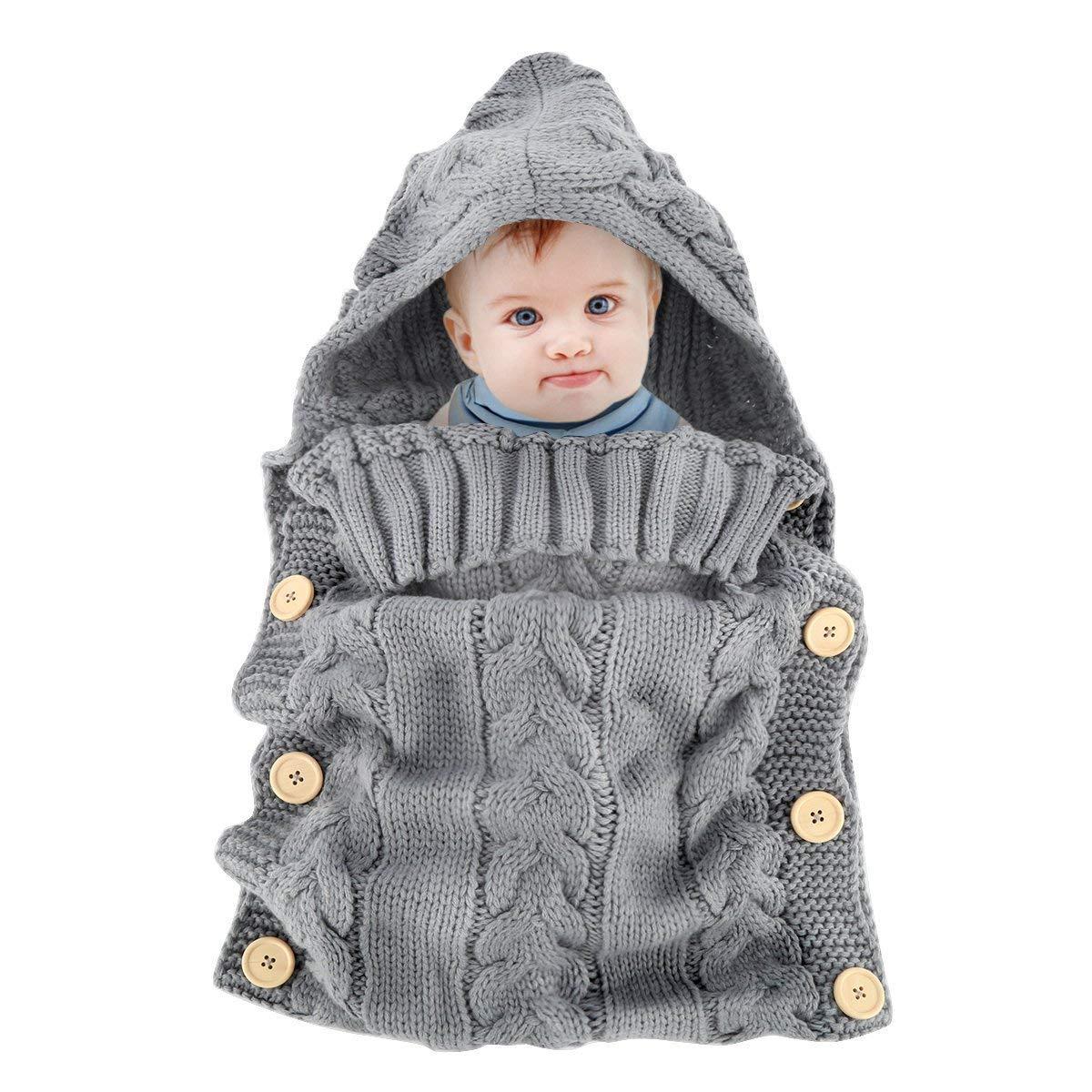 brand new 323d5 99a23 Newborn Baby Wrap Swaddle Blanket Knit Toddler Sleeping Bag Sleep Sack  Stroller Wrap, Best for 0-6 Months Baby Shower Gift (Grey)