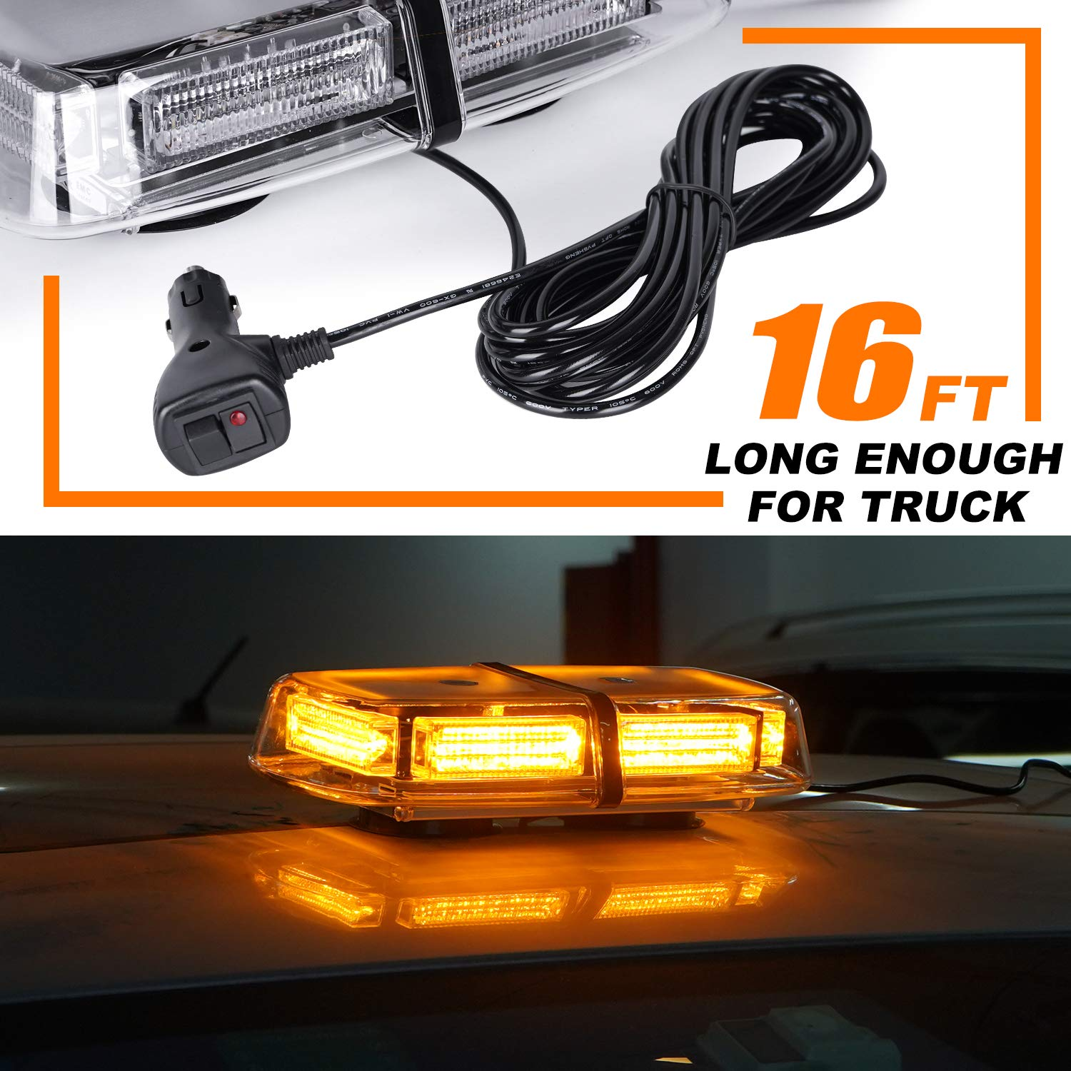VKGAT 48 LED Roof Top Strobe Lights Amber Emergency Hazard Warning Safety Flashing LED Mini Bar Strobe Light for Truck Car Snow Plow Vehicles Waterproof and Magnetic Mount