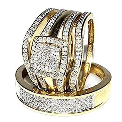 Gold Wedding Rings.Amazon Com Midwest Jewellery Trio Wedding Rings Set Bridal Set 3