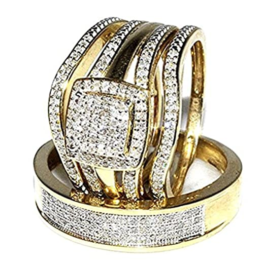 Amazoncom Trio Wedding Rings Set Bridal Set 3 Piece And Mens Wide