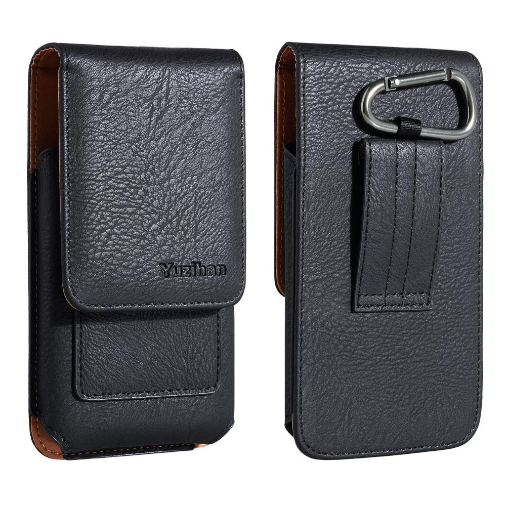 iNNEXT for iPhone 8 Plus XS Max Leather Pouch Holster Belt Case with Clip//Loops Magnetic Closure Belt Pouch Holder for iPhone 7 Plus 6 Plus with a Slim Hard Case on Built in ID Card Slot Black