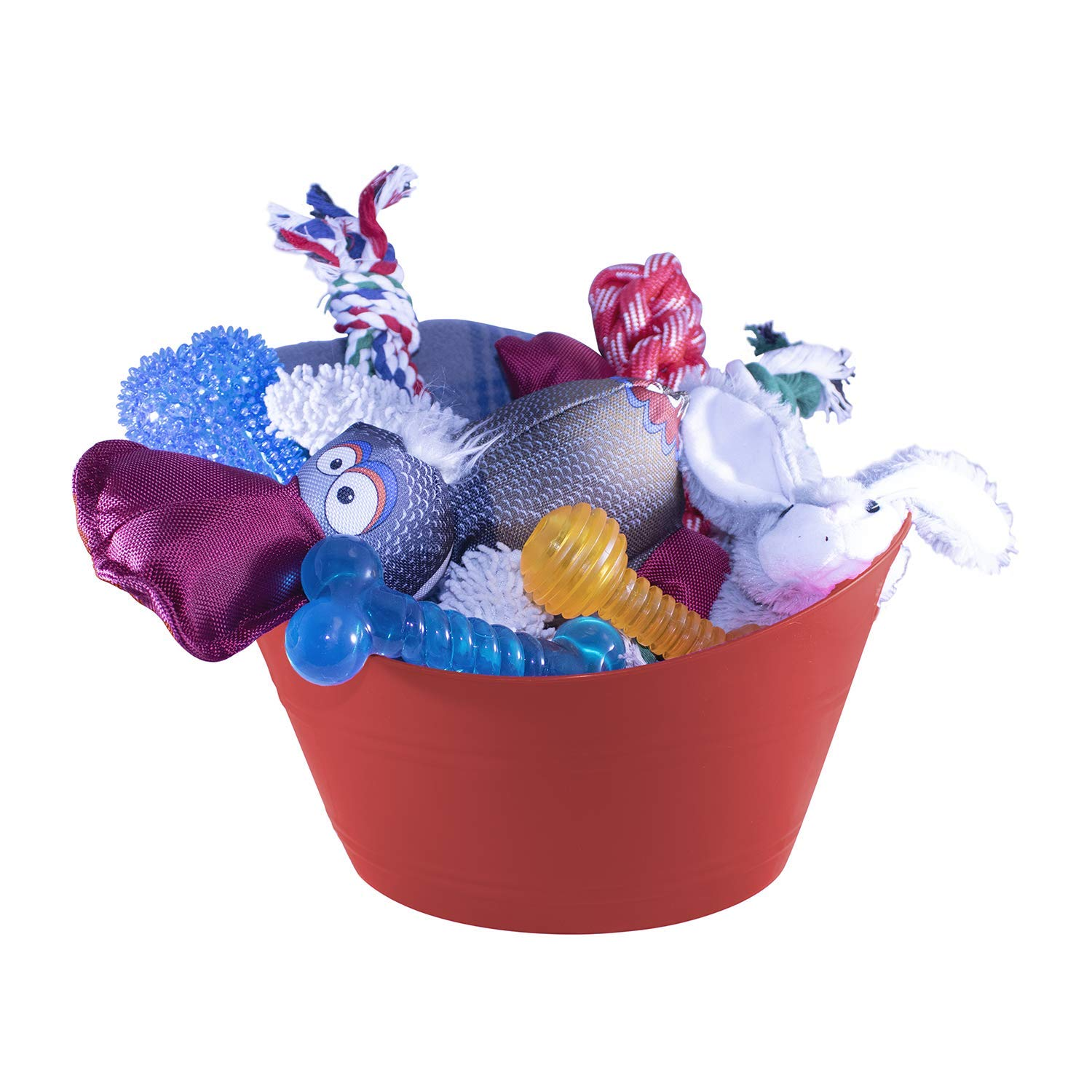 Just Chill'In Pets Dog Gift Basket with Durable Dog Toys - Dog Blanket 50 x 60 inches- Storage Basket Great for Easter Dog Gifts, Dog Birthdays, or Dog Lovers