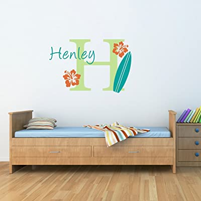 Surfboard Wall Decal with Initial & Name - Personalized Hawaiian Wall Decal - Surfboard Decal (DE0079)