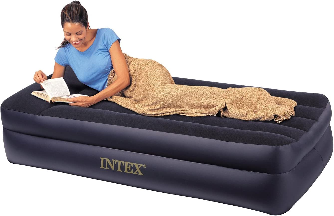Intex Comfort Bed - Rising Comfort Twin Airbed with built-in Electric Pump