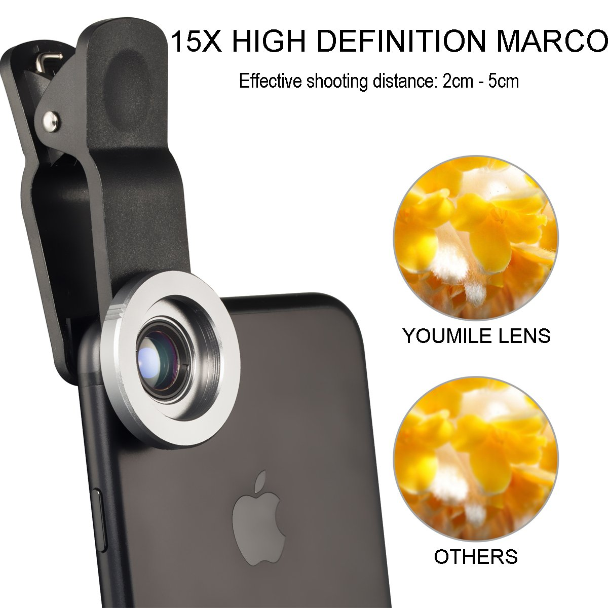 YOUMILE Cell Phone Camera Lens 2 in 1 Clip-on Lens Kit 112/° Super Wide Angle /& 15X Macro Phone Camera Lens Professional HD for iPhone 8 7 6s 6 Plus Samsung Android Smart Phone iPad Gray