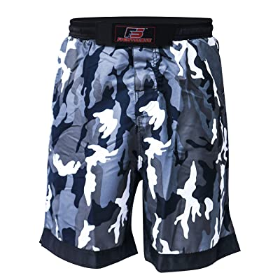 S.F. Products FS MMA Fight Kick Boxing Shorts UFC Cage Fight Grappling Muay Thai Boxing Kick Boxing Martial Art Training Clothing Uniform Camouflage Gray
