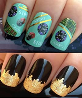 Nailtopia nail stickers las vegas amazon beauty nail decals water transfers stickers art set 158 plus a large gold leaf sheet prinsesfo Choice Image