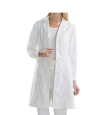 BSTT Mujer Bata de Laboratorio Blanco Uniformes de Trabajo Mejora: Amazon.es: Ropa y accesorios