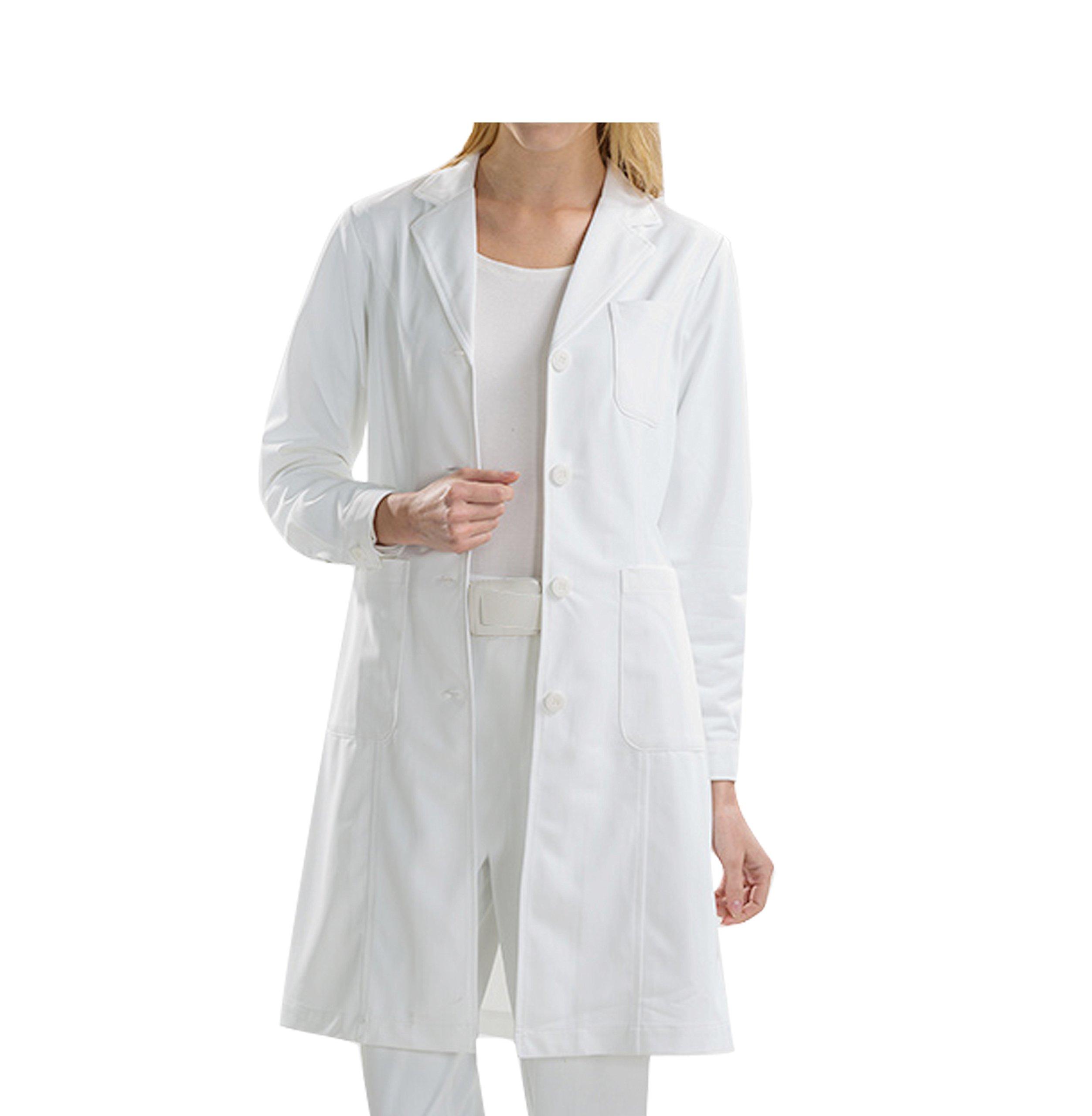 BSTT Women Lab Coat White Medical Uniforms Scrubs-2018 New Improvement Buttoned Sleeves Thick XXL