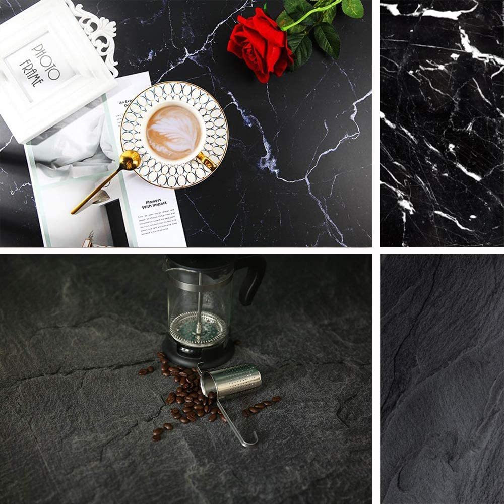 Muzi 22x35 Inch Double Sided Marble Background Black Texture Concrete Pattern Photography Backdrop for Food Seamless Paper Board Photo Studio Props TB-K