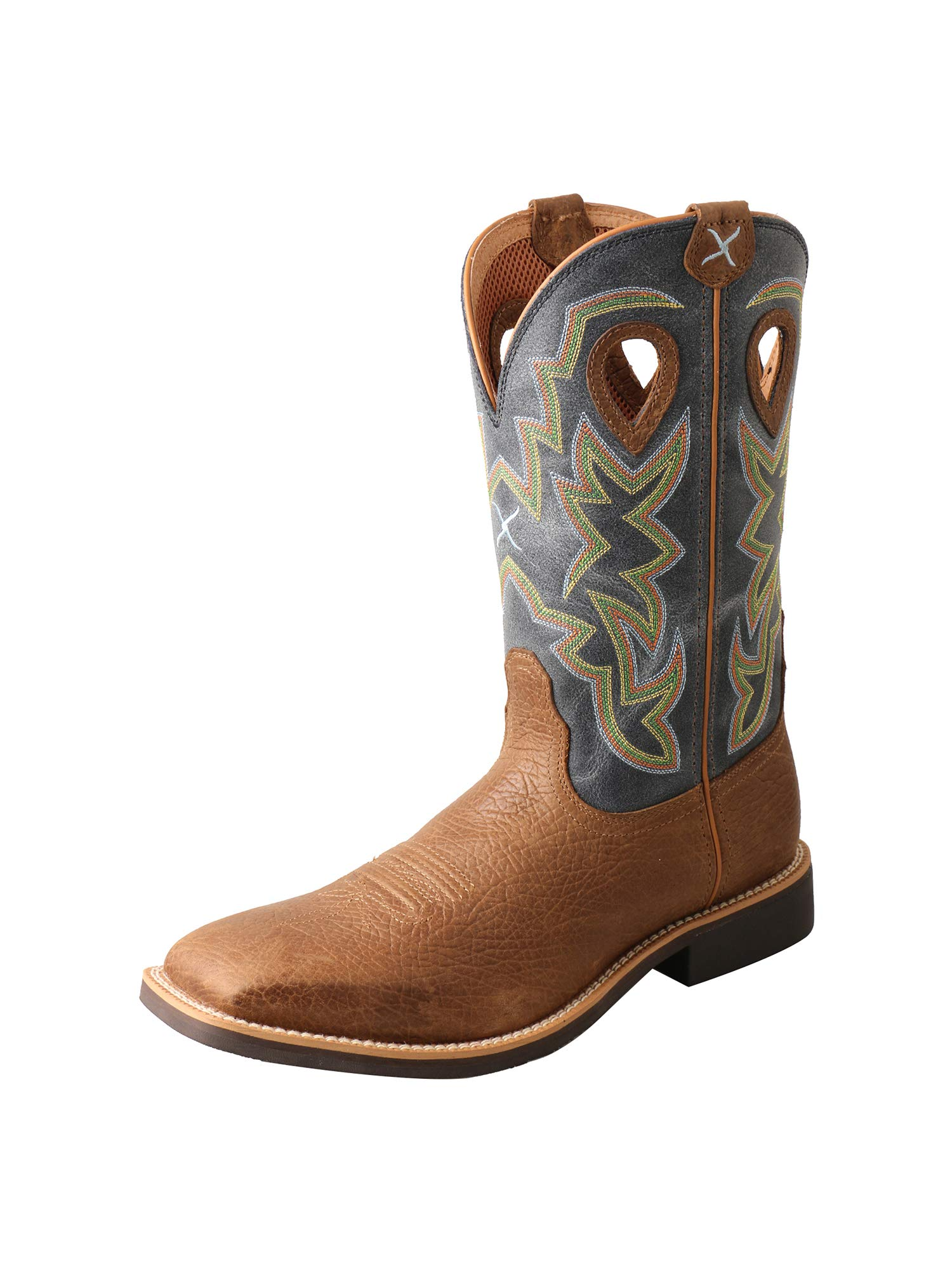Twisted X Men's Top Hand Western Boot Wide Square Toe Distressed Brown 9 D by Twisted X
