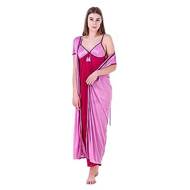 MILIT Women s Satin Contrast 2 Piece Nightwear Nighty with Robe (Purple and  Pink f3ea4520c