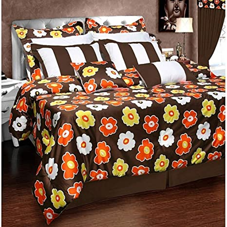 12pc King marrón naranja Comforter Set, elegante cama de lujo, moderno Master dormitorios,