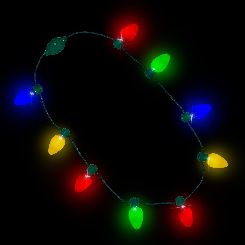 Windy City Novelties Original Led Light Up Christmas Jumbo Flashing Lights Bulb Necklace Party Favors Ugly Xmas 1 Pack Home Kitchen