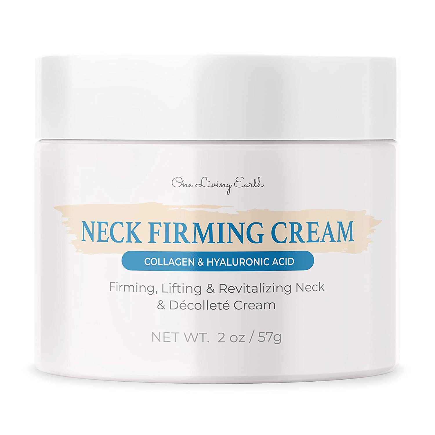 One Living Earth Neck Firming Cream - Anti Aging with Collagen, Hyaluronic Acid & Retinol - Saggy Neck Skin Tightener for Double Chin - Neck & Décolleté Moisturizer - 2 fl oz