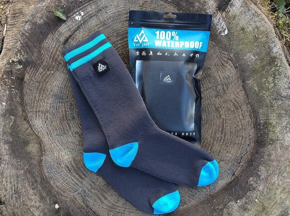Calf Size VER JARI Waterproof Socks Verjari Merinos Wool Grey Blue