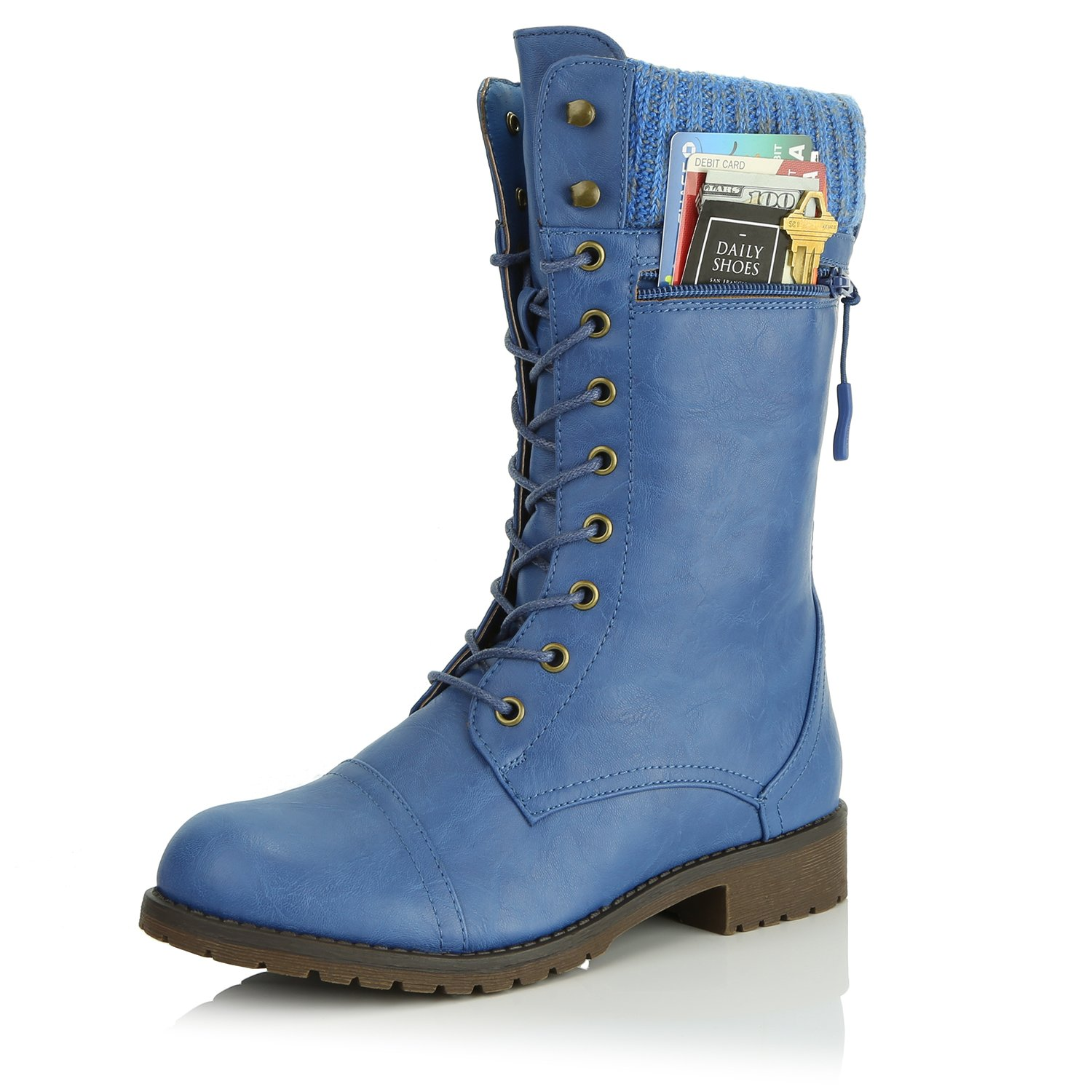 DailyShoes Women's Combat Style Lace up Ankle Bootie Round Toe Military Knit Credit Card Knife Money Wallet Pocket Boots, Blue Pu, 8.5
