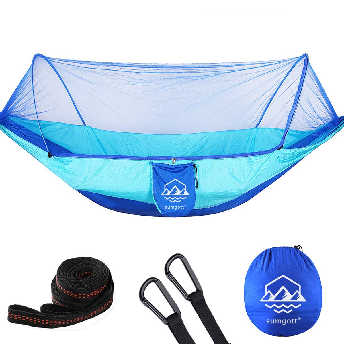 SUMGOTT Camping Hammock with Mosquito Net 300kg Load Capacity (290 x 140 cm) Breathable Quick-drying Parachute Nylon, 2 Person Hammock for Outdoor Hiking Backpacking Traveling