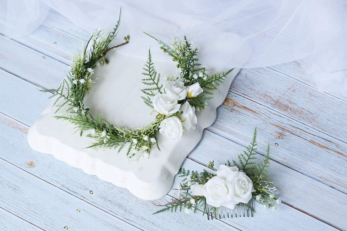 F-comb FIDDY898 Floral Crown Green Headpiece Bridal Accessories Wedding Crown