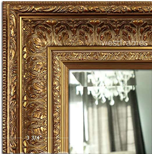 Amazon Com West Frames Elegance Ornate Embossed Wood Framed Wall Mirror 31 X 43 Antique Gold Furniture Decor