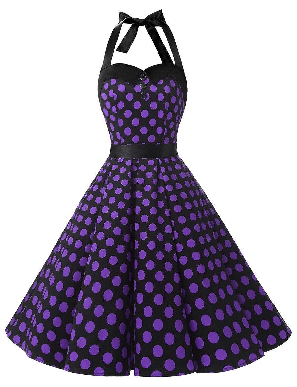 TALLA S. Dressystar Vestidos Corto Cuello Halter Estampado Flores y Lunares Vintage Retro Fiesta 50s 60s Rockabilly Mujer Black Purple Dot S