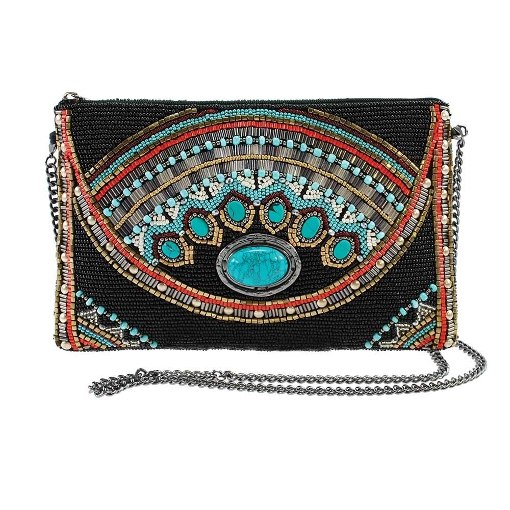 MARY FRANCES Girl Tribe Beaded Western Pattern Crossbody Mini Handbag with Genuine Turquoise Gemstone