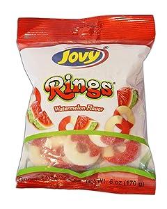 Jovy Rings Watermelon Flavor   Watermelon Gummy Candy   6 oz bag