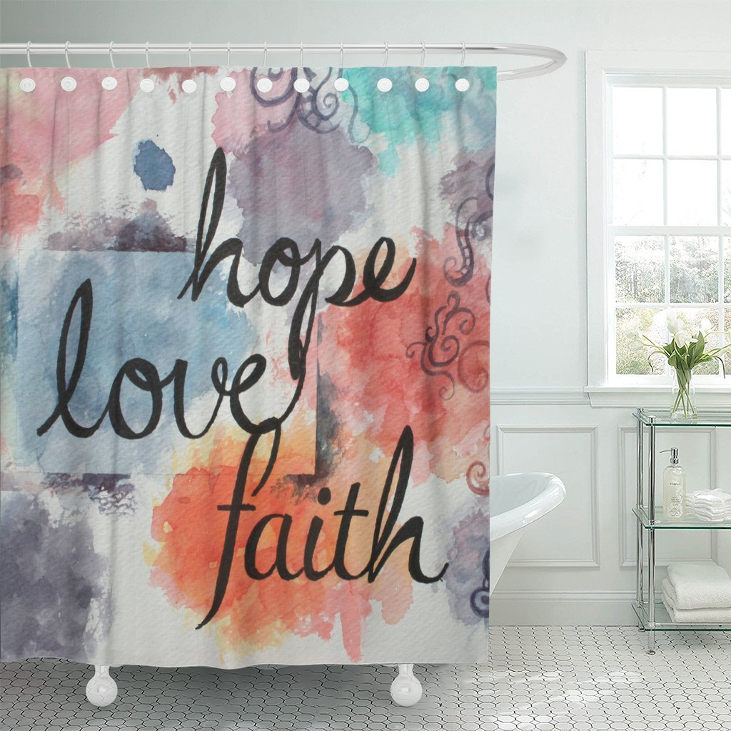 VaryHome Shower Curtain Colorful Watercolor with Text Words Faith Hope and Love Written in Large Handwriting Black Ink Letters Waterproof Polyester Fabric 72 x 72 inches Set with Hooks