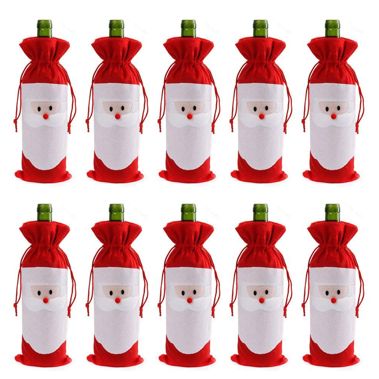 Gizhome 10 Piece Santa Claus Christmas Drawstring Red Wine Bottle Cover Bags for Home Dinner Party Decoration Table Decor X-Mas Gift