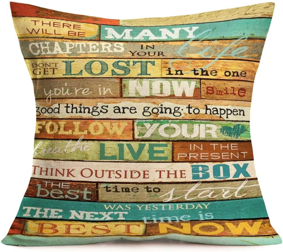 Amazon Com Fukeen Inspirational Quotes Throw Pillow Cases Cotton Linen Vintage Wood With Classical Saying Words Decorative Pillow Covers 18x18 Inch Standard Home Office Decor Cushion Cover Home Kitchen