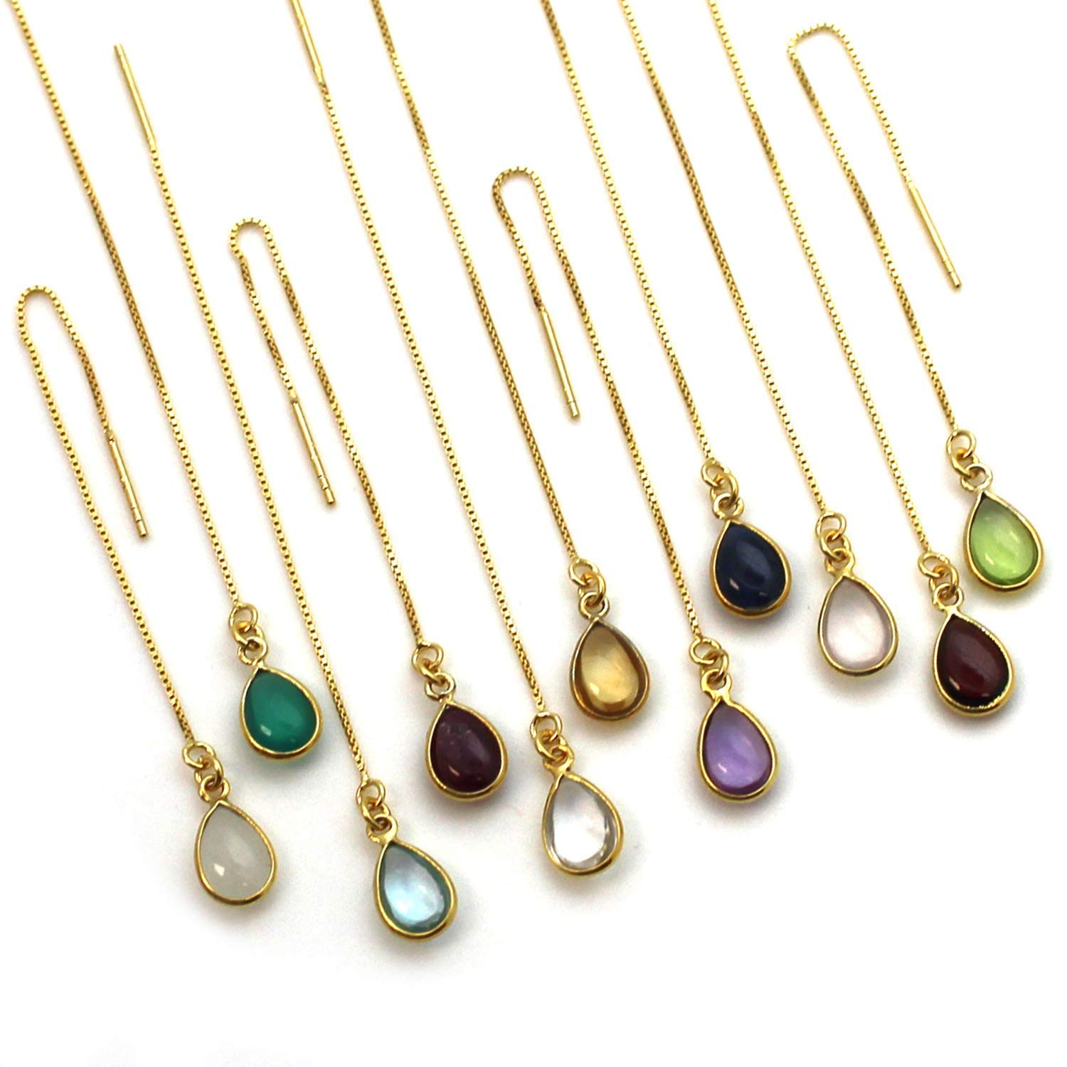 Gold over Sterling Silver Birthstone Earring Threaders
