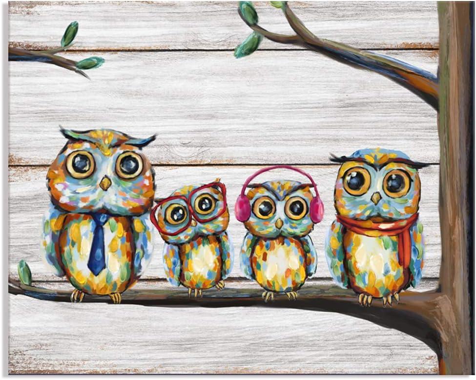 Visual Art Decor Happy Owl Family Canvas Prints Animal Painting Wall Decor Dad Mom and Kids Canvas Prints Wall Art Decor for Modern Home Child Bedroom Nursery Decoration (01 Owl, 16x20)