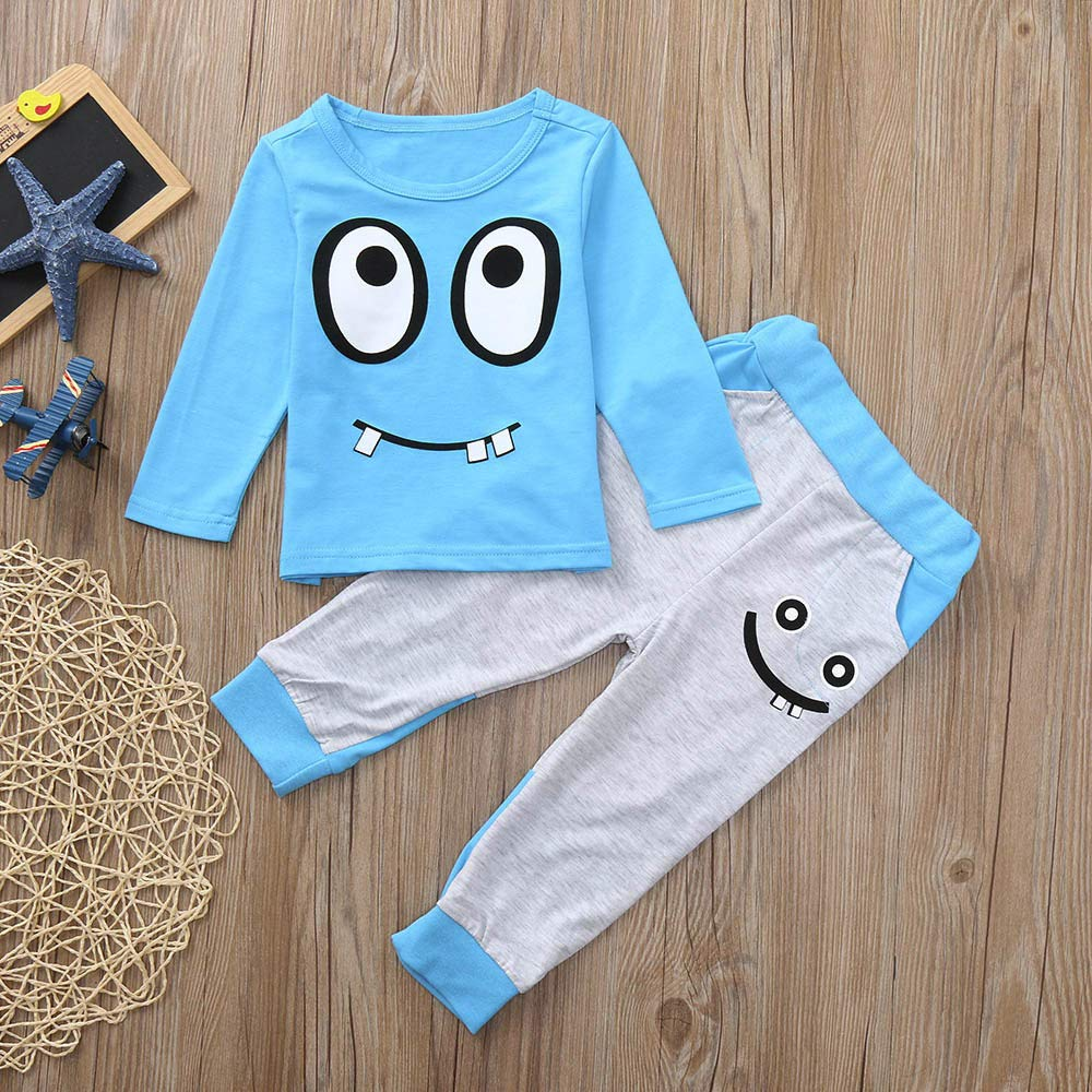 XUANOU Childrens Long Sleeve Cartoon Big Eyes Printed Shirt Pants Home Service Suit 2pcs Toddler Baby Boys Girls Outfits