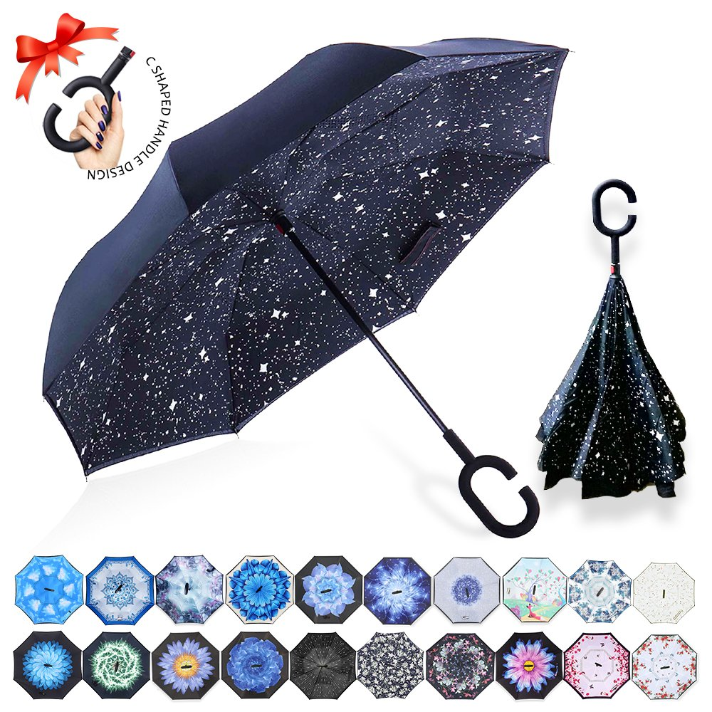 ZOMAKE Double Layer Inverted Umbrellas for Women, Reverse Folding Umbrella Windproof UV Protection Big Straight Umbrella for Car Rain Outdoor With C-Shaped Handle (Night Sky)