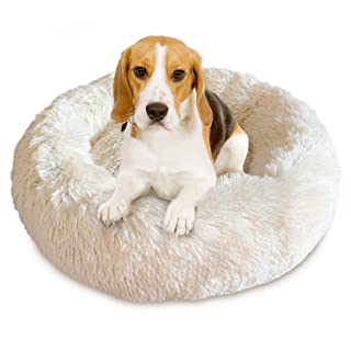 Docatgo Pet Bed, Donut Cat Bed, Luxury Shag Faux Fur Donut Cuddler, Pet Cushion beds for Medium Cat and Dogs (Round)