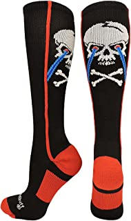 product image for MadSportsStuff Crazy Socks with Laser Skull and Crossbones Over The Calf Socks