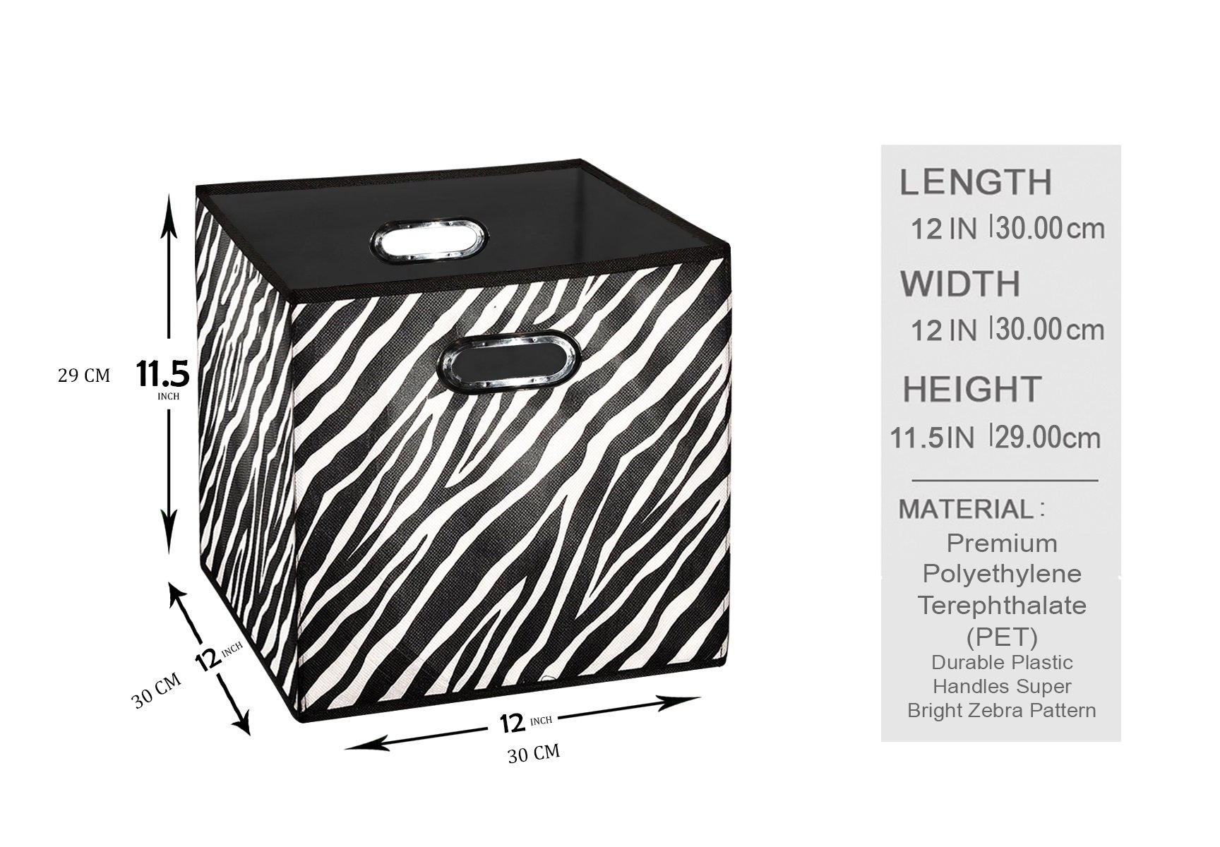 [10 Pack Zebra Pattern] Large Storage Bins, Containers, Boxes, Tote,  Baskets  Collapsible Storage Cubes For Household Offices Organization   Nursery Cubes  ...