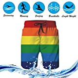 Alistyle Mens Summer Rainbow Swim Trunks Quick Dry
