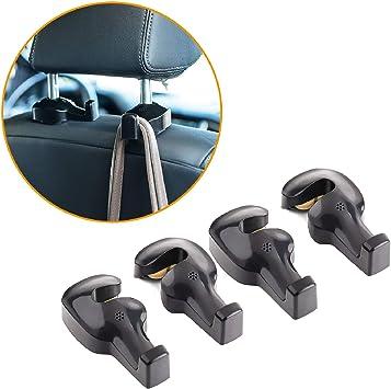 viewm 4 Pcs Car Hooks Purse Hooks Seat Headrest Hooks Backseat Headrest Hangers Storage for Purses Grocery Bags Coats Clothes