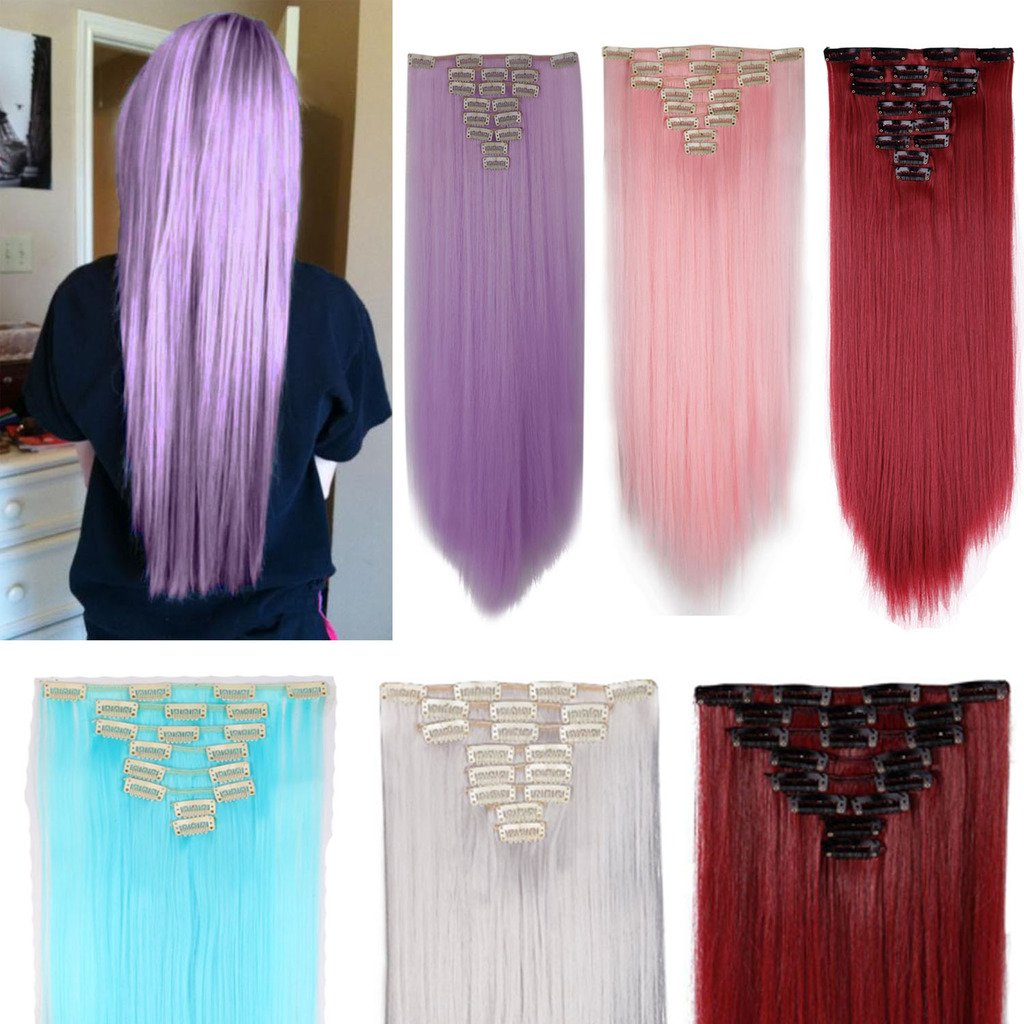 FUT 8 Piece 18 Clips in Synthetic Hair Extensions Straight Full Head 26inch 145g for Girl Lady Women Dark Blonde Mix Light Blonde